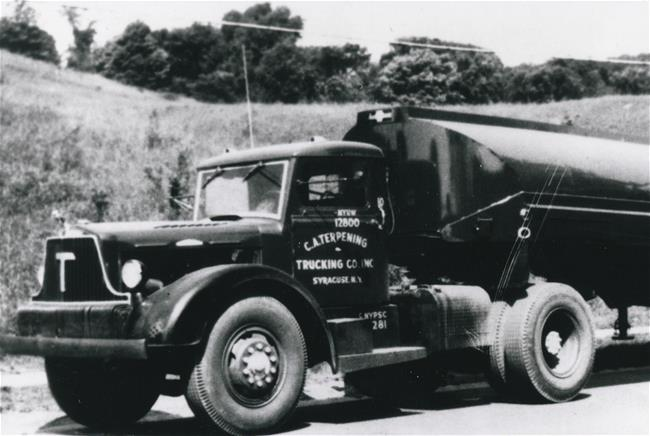 1945 - Terpening sells the dairy business to focus on hauling petroleum products. Tractors are gasoline-powered, and trailers are steel.